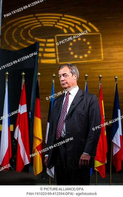 23 October 2019, France (France), Straßburg: Nigel Farage, Chairman of the British Brexit Party, is standing in the European Parliament building during a...