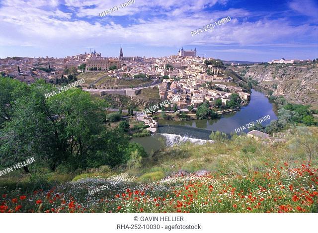 View of the city and Tagus River Rio Tajo, Toledo, Castilla La Mancha, Spain, Europe