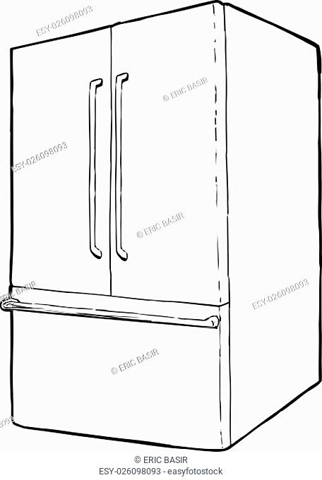 Outline of refrigerator with french doors and freezer drawer