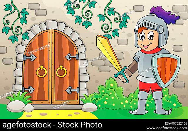 Knight by old door theme image 1 - eps10 vector illustration