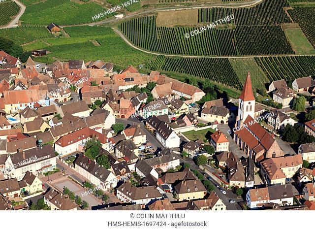 France, Haut Rhin, Alsace wine road, Ammerschwihr (aerial view)