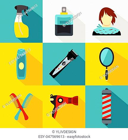 Hairstyle icons set. Flat illustration of 9 hairstyle vector icons for web