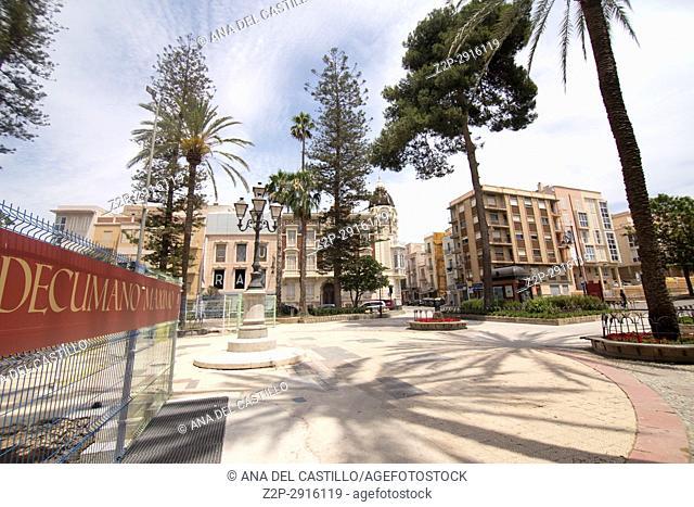Cityscape in Cartagena Murcia Spain on June 4, 2017. Decumano maximo roman street ruines