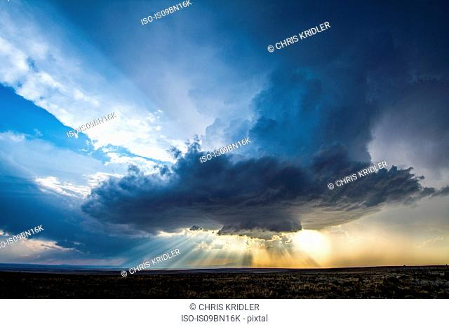 Low-precipitation supercell spins outside of Roswell, New Mexico, near sunset