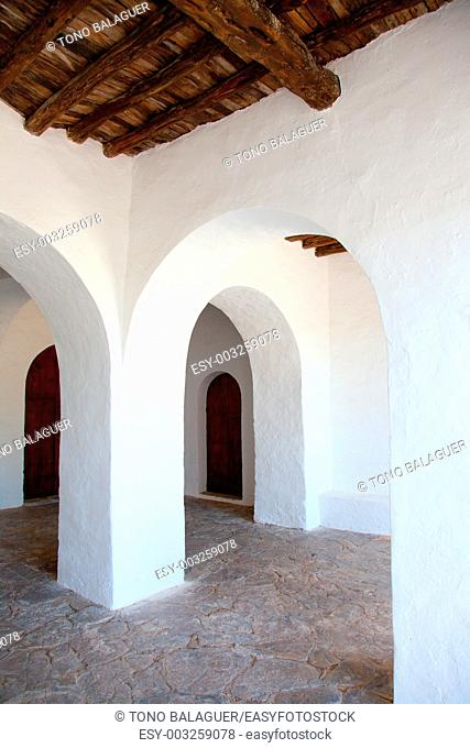 Ibiza Santa Agnes de Corona Ines white church in Balearic islands