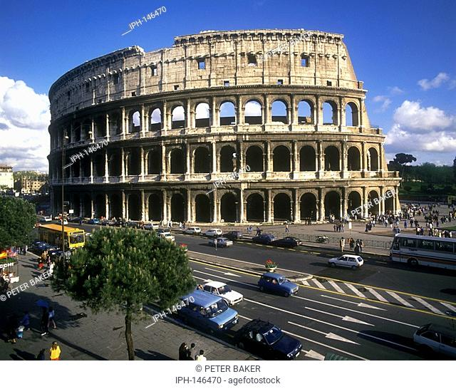 Rome - Modern busy road beside the ancient Roman Colosseum AD72-80