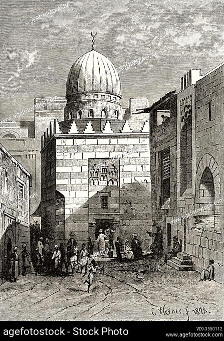 Street and mosque in 19th century Cairo, Ancient Egypt. Old 19th century engraved illustration, El Mundo Ilustrado 1880