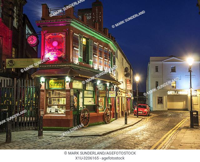 Restaurant in Crown Street at dusk in Leeds West Yorkshire England
