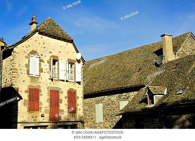 architectural details, Salers, Cantal Department, Auvergne, France