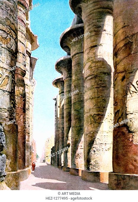 Hypostyle Hall, Temple Karnak, Luxor, Egypt, 20th Century. Carved and decorated pillars in the Great Hypostyle Hall at the temple of Amun-Re at Karnak (Thebes)