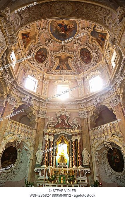 Italy, Trento, Lake Garda, Riva del Garda, Baroque Interior of The Church of the Assumption of Mary