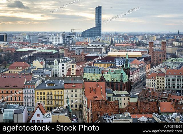 Aerial view from Garrison Church in Old Town of Wroclaw, Poland - view with Sky Tower skyscraper and University Library