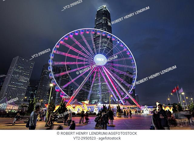 Hong Kong observation wheel and the IFC2 building, Victoria harbor, Hong Kong, China