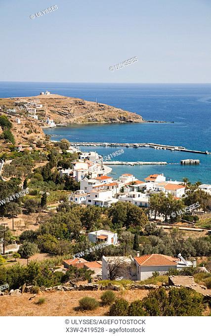 Korthi Bay and Ormos Korthiou village, Andros island, Cyclades islands, Aegean sea, Greece, Europe