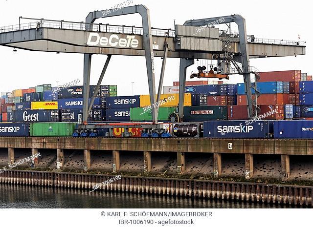 Ruhrort container port, bridge cranes, Duisburg, Ruhr area, North Rhine-Westphalia, Germany, Europe