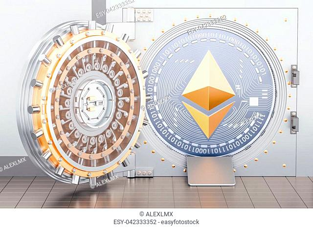 Opened bank vault with cryptocurrency ethereum inside, 3D rendering