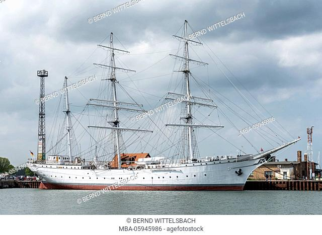 Stralsund, Mecklenburg-Western Pomerania, Germany, Europe, rigging of the school ship Gorch Fock in the harbour of Stralsund