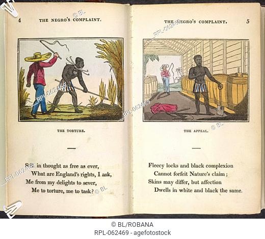 A slave being flogged The Torture. The appeal. Image taken from The Negro's Complaint: a poem. To which is added Pity for Poor Africans