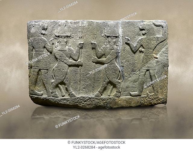 Hittite relief sculpted orthostat stone panel of Herald's Wall. Basalt, Karkamıs, (Kargamıs), Carchemish (Karkemish), 900-700 B. C