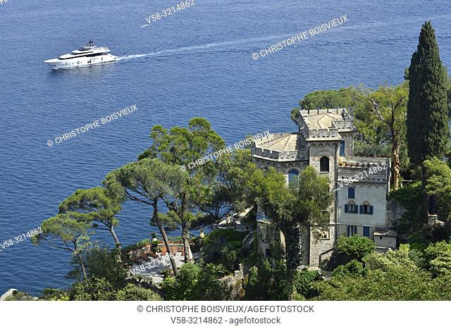 Italy, Liguria, Portofino, Luxurious villa overlooking the gulf of Genoa