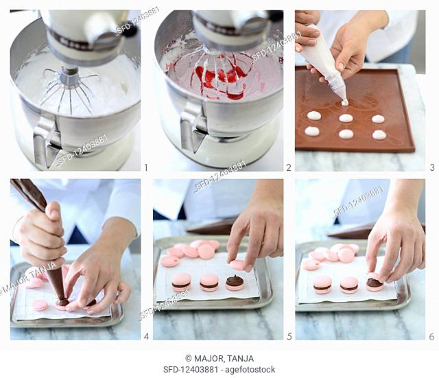 Pink macaroons with chocolate cream being made