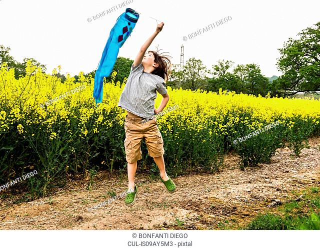 Boy jumping on yellow flower field track pulling fish kite