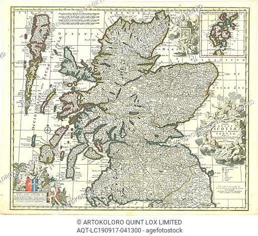 Map, Novissima Regni Scotiae Septentrionalis et Meridionalis tabula, divisae in ducatus, comitatus, vice-comitatus, provincias, praefecturas, dominia et insulas