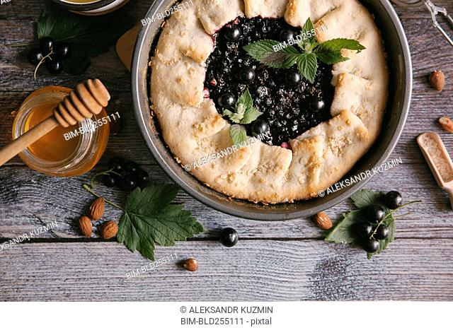 Close up of blackcurrant pie