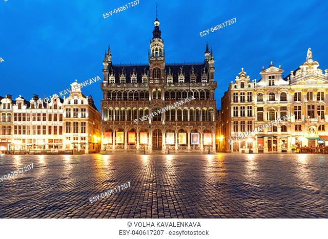 Majestic Grand Place Square with King's House or Breadhouse during morning blue hour in Belgium, Brussels