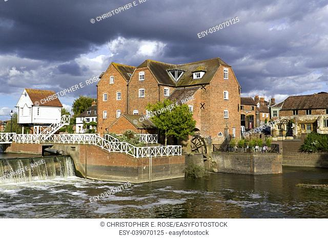 Restored Abbey Mill and sluices, Tewkesbury, Gloucestershire, Severn Vale, UK