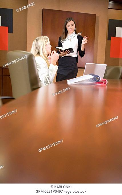 Portrait of young fashionable businesswomen working in modern office