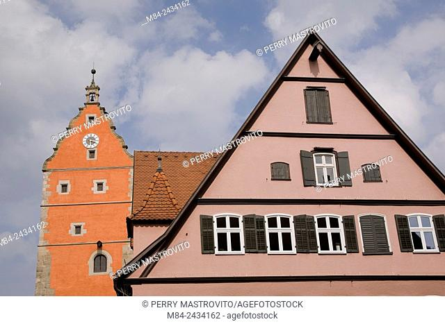 Residential apartment building and tower in the medieval town of Dinkelsbuhl in late summer, Germany