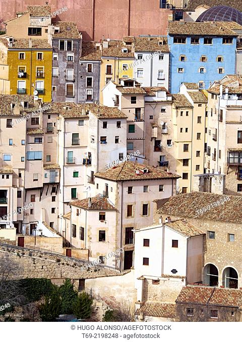 Aerial view of the old town of Cuenca. Hanging houses. Cuenca. Spain