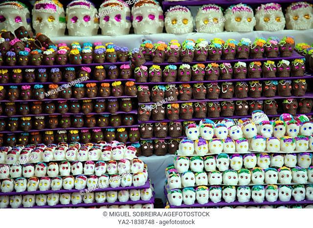Sweet Calaveras -skulls - to celebrate Dia de los Muertos, on stall at Jamaica Market in Colonia Jamaica in Venustiano Carranza borough of Mexico City