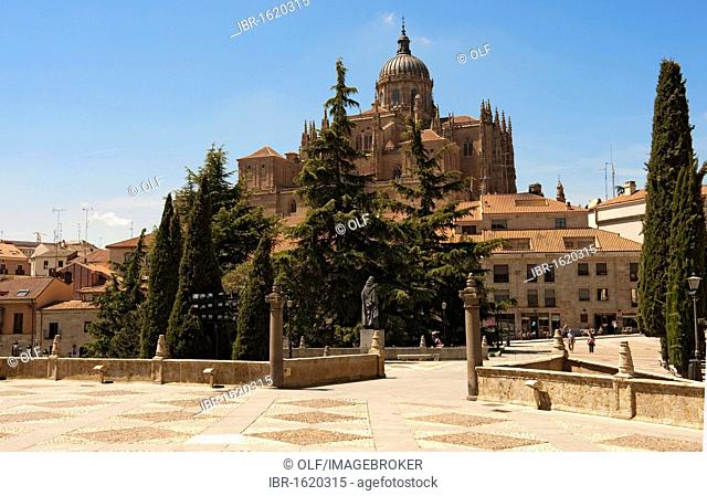 New Cathedral, Catedral Nueva, components of Gothic, Renaissance and Baroque, as seen from the terrace in front of the Convento de San Esteban, Salamanca