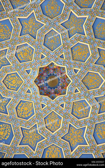 Uzbekistan, Bukhara surroundings, Baha-ud-Din Naqshband mausoleum, Decorated ceiling