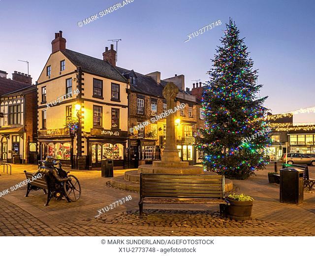 Market Place at Dusk at Christmas Knaresborough North Yorkshire England