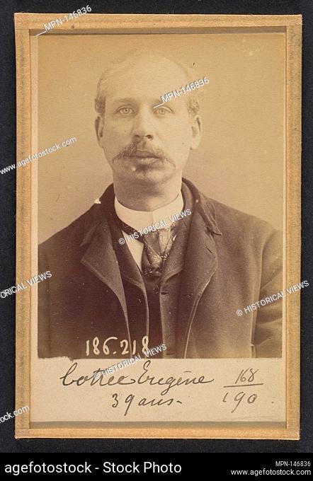 Cottée. Edouard, Eugène. 37 ans, né à Paris XVle. Artiste-peintre. Vol par complicité. 6/2/92. Artist: Alphonse Bertillon (French