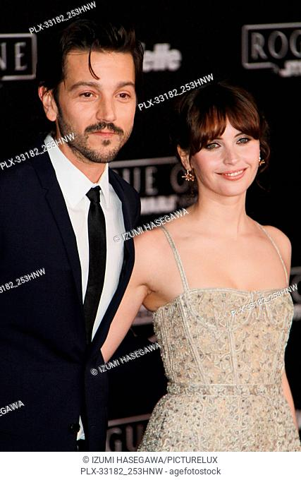 """Diego Luna, Felicity Jones 12/10/2016 The World Premiere of """"""""Rogue One: A Star Wars Story"""""""" held at the Pantages Theatre in Los Angeles"""