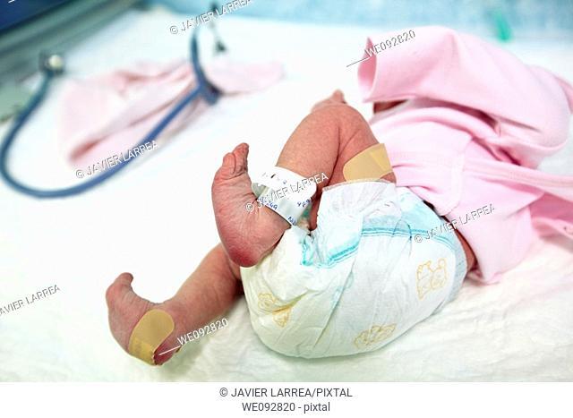 Newborn baby, pediatrics. Hospital Policlinica Gipuzkoa, San Sebastian, Donostia, Euskadi, Spain