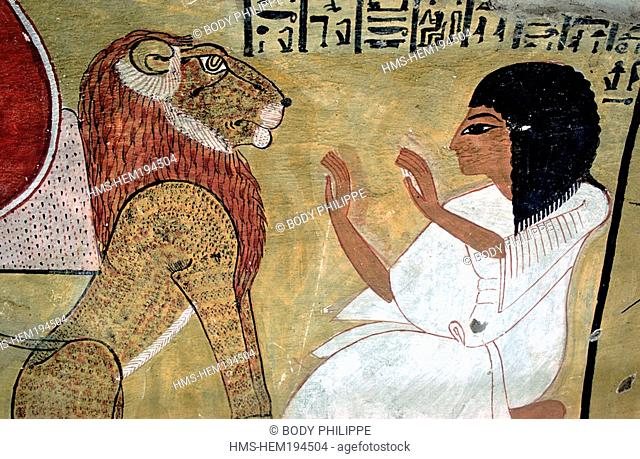 Egypt, Nile Valley, Thebes Necropolis, Valley of the Artists, Deir El-Medina, painting in Inherkau's tomb