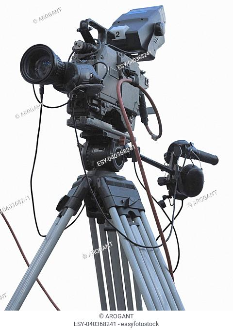 TV Professional studio digital video camera on tripod isolated over white background