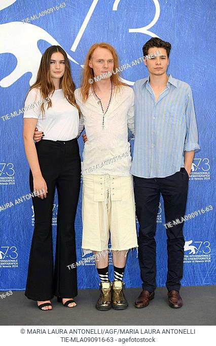 The actress Mitzi Ruhlmann with the director Nicholas Verso and the actor Toby Wallace during the photocall of film Boys in the trees at 73rd Venice Film...