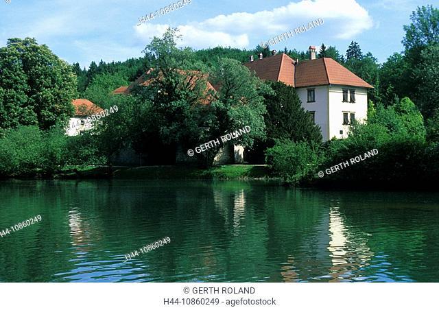 Slovenia, water castle, river island, river, strea