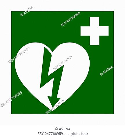 Vector fire emergency icons. Signs of evacuations. Doctor, emergency medicine chest in green