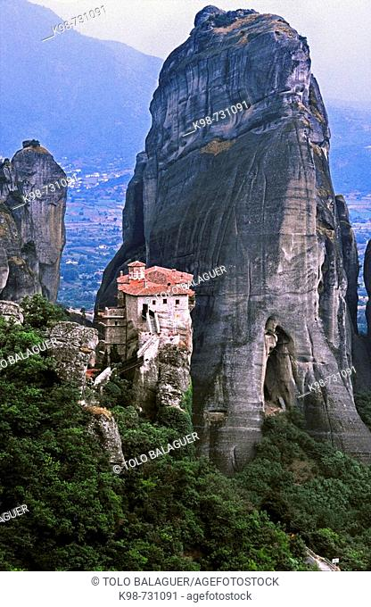 Greek Orthodox Holy Monastery of Rousanou or St Barbara, Meteora. Thessaly, Greece