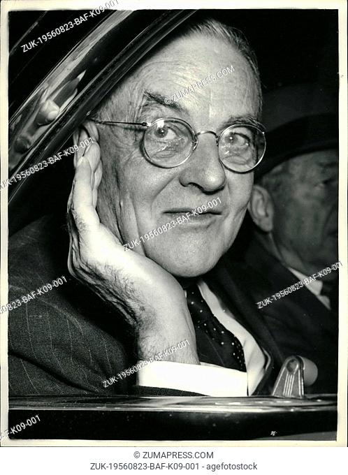 Aug. 23, 1956 - 23-8-56 Suez Conference ends. Keystone Photo Shows: Mr. John Foster Dulles, the United States Secretary of State