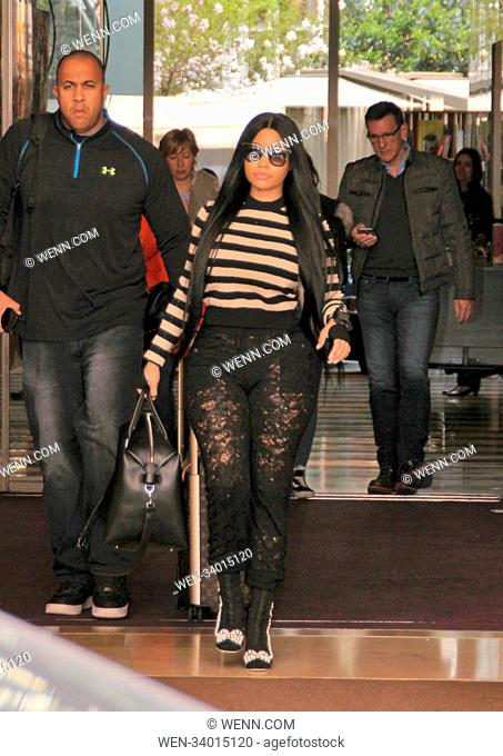 Nicki Minaj is seen leaving her hotel for Roissy Charles de Gaulle airport in Paris, France. Featuring: Nicki Minaj Where: Paris