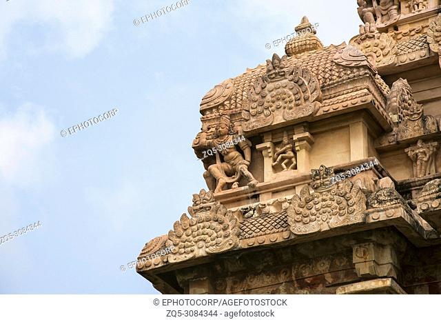 Partial view of carved Gopuram of Shiva temple, Gangaikonda Cholapuram, Tamil Nadu, India