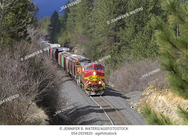 BNSF train in Spokane, Washington, USA